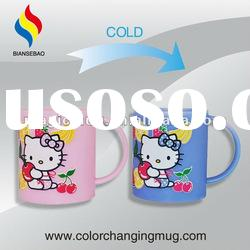 promotional 10 OZ color changing plastic mugs with handles