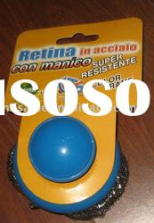 scourer with a plastic handle,galvanized mesh scrubber, cleaning ball