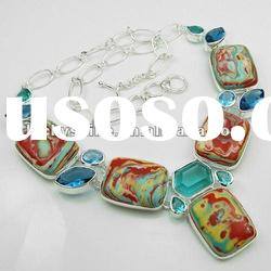 stone necklace wholesale Rainbow Jasper imitation jewelry