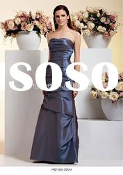 straight off shoulder rouched floor-length navy blue bridesmaid dresses