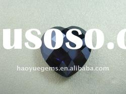 synthetic gemstone,black heart-shape CZ cubic zirconia