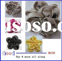 top fashion satin silk hair claw clip hair decorative flower