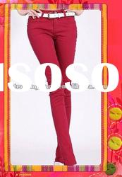 wholesale red denim jeans unique fashion colored denim jeans for women