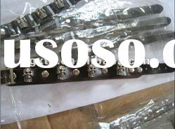yiwu fashion jewelry factory Alloy human skeleton leather bracelet with buckle