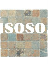 100% Natural Multi-color Slate Mosaic Stone Tile