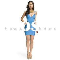 2012 Blue Lady V Neck Dress with Strap Fashion Bandage Dress,Party Dress DH079