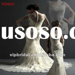 2012 Mermaid/Trumpet Satin Chapel Train long sleeve lace Wedding Dresses