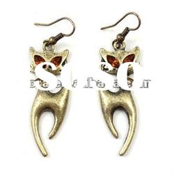 2012 fashion antique gold plated cat dangle Earrings