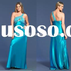 2012 latest One-shoulder Beaded Open Front Prom Dress