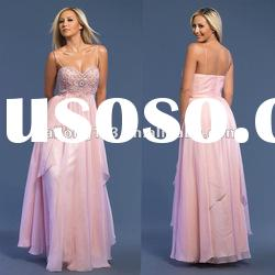 2012 latest Spaghetti Strap Beaded Evening Gown