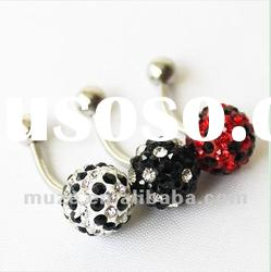 316l stainless steel with multi-crystal ball belly navel ring body jewelry