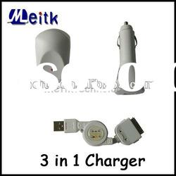 3 in 1 USB Retractable Cable US WALL CHARGER Car Charger for Apple iPhone 3G 3GS