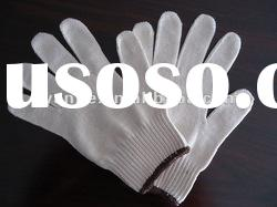 6/s bleached white 10 guage cotton gloves/construction hand gloves