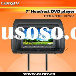 7 inch headrest car DVD player with wireless game,USB/SD,FM,Zipper cover/TV optional