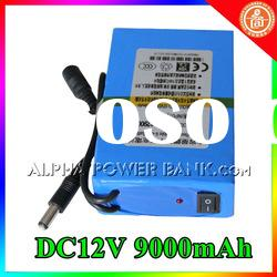 9000mAh 12V battery pack for portable DVD ,GPS,CCTV camera,LED products