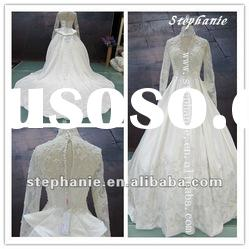 A6563 Guangzhou Muslim Wedding Gown Long Sleeve Lace Wedding Dresses