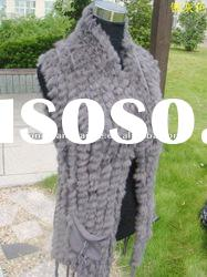 CDV083 Genuine knitted rabbit fur vest for women in spring and autumn