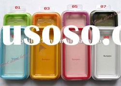 Clear Bumper Case Cover Skin Case W/Side Buttons for iPhone 4G 4 4S 8 Colors