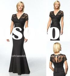 Custom-made black winter evening dress with short sleeve JL37