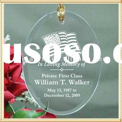 Engraved Oval Glass Xmas Ornaments For Christmas Tree Decor