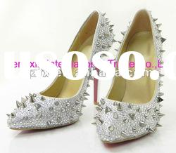 Fashion Crystal Rivets Ladies High Heel Party Dress Shoes