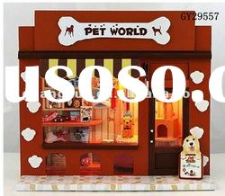GY29557 cut animal pet shop mini wooden house toy