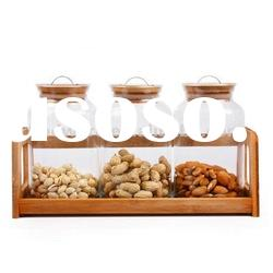 Glass Jars Set with bamboo stand