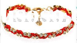 Gold Rhinestone Crystal and Multi Red Friendship Braided Bracelet