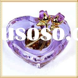 Heart Shaped Crystal Rose Music Box for Wedding Gifts
