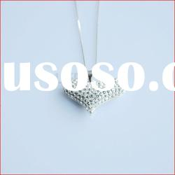 Heart shape 925 silver rhinestone necklace