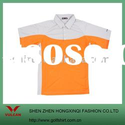 Hot selling quick dry mens polo shirt gray and orange color contrast design