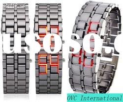 Japan movt stainless steel back watch/LED wacth