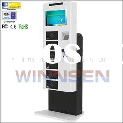 Mobile phone charger station with locker, LCD screen and coin acceptor