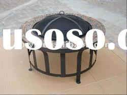 Mosaic cast iron round fire pit table set