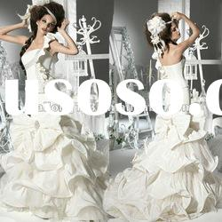 One-shoulder Ruffle Bow Beaded Lace up Satin New Style Wedding Dress