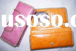 PU leather wallets ladies with silver chain