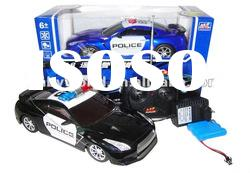 Plastic 1:18 simulation model 4CH RC Police Car toy with working lights
