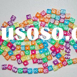 Rainbow Square Acrylic Plastic alphabet charm beads! 7*7mm letter charm beads! Wholesale!