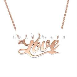 Rose gold plated necklace,free shipping