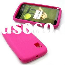 SILICONE rubber skin back case for BOOST MOBILE ZTE WARP N860 hot pink