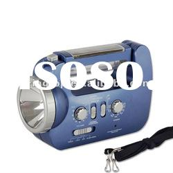 Solar Power and Hand Crank Dynamo Flashlight | AM/FM/WB Radio | Phone Charger | Emergency Siren