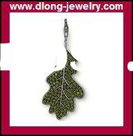 TMS905 Fashion 925 Silver Charm,TMS Green Leaves With Diamond Charm,Pendant