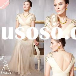 The fashionable beige long formal evening dress
