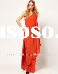Shoulder Maxi Dress on Women One Shoulder Maxi Orange Dress