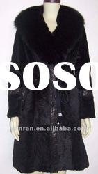 YR-676-A Lady Genuine Sheared rabbit fur overcoat with fox collar