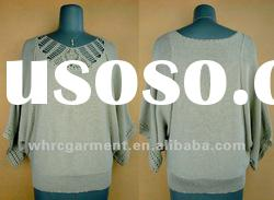 (S/#:LS-057)Latest design acrylic/cotton + silver lurex long shirt sweater for 2012 spring