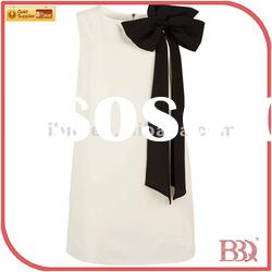 beautiful dress with bowknot classic color white&black
