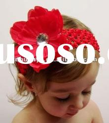 beautiful large red flower crochet headband baby