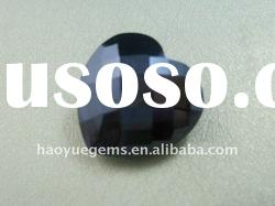 black heart-shape CZ cubic zirconia,synthetic gemstone