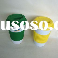 ceramic mug with silicone lid and grip no handle